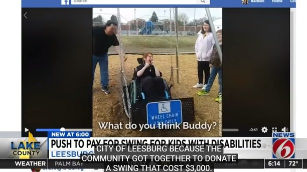 An Unexpected Amount of $29,000 Was Donated to Leesburg to Install The Wheelchair Accessible Swing